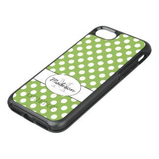 Modisches Grün und weißes Tupfen Monogramm OtterBox Symmetry iPhone 8/7 Hülle