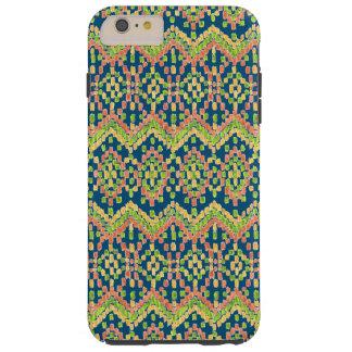 Modisches Ikat buntes ethnisches Muster auf Blau Tough iPhone 6 Plus Hülle