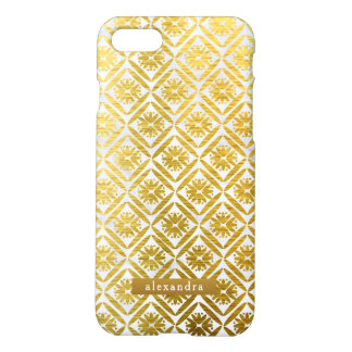 Modisches Marmor-und Goldgeometrisches Muster iPhone 8/7 Hülle