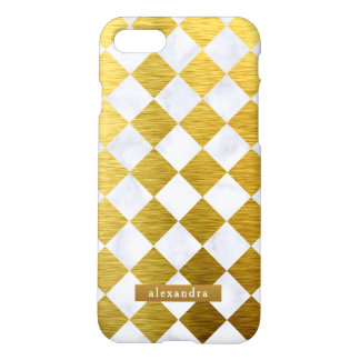 Modisches Marmor-und Goldquadrat-Muster iPhone 8/7 Hülle