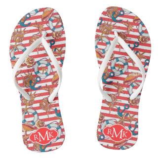 Modisches Monogramm des Strand-Muster-| Flip Flops