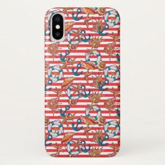 Modisches Monogramm des Strand-Muster-  iPhone X Hülle