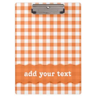 Modisches orange und weißes Gingham-Muster Klemmbrett