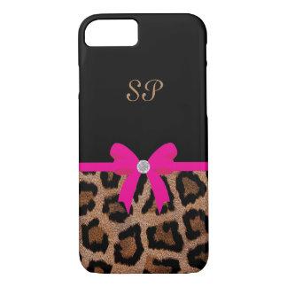 Modisches Pink-und Schwarz-Leopard-Bogen-Monogramm iPhone 8/7 Hülle