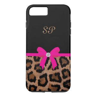 Modisches Pink-und Schwarz-Leopard-Bogen-Monogramm iPhone 8 Plus/7 Plus Hülle