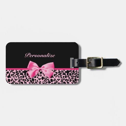 Modisches rosa und schwarzes Leopard-Pink-Band Kofferanhänger