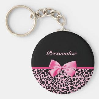 Modisches rosa und schwarzes Leopard-Pink-Band Standard Runder Schlüsselanhänger