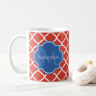 Modisches rotes Quatrefoil blaues Monogramm und Kaffeetasse