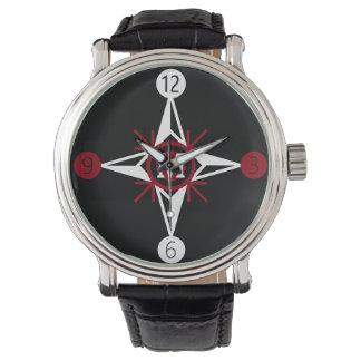 Modisches Rotes u. Weiß-Nordstern-Monogramm auf Armbanduhr