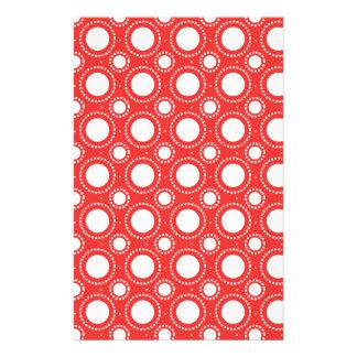 Modisches rotes u. weißes Tupfen-Muster Personalisierte Büropapiere