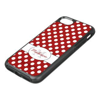 Modisches rotes weißes Tupfen Monogramm OtterBox Symmetry iPhone 8/7 Hülle
