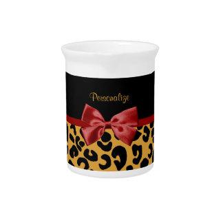 Modisches Schwarzes und Goldleopard-Druck-roter Getränke Pitcher