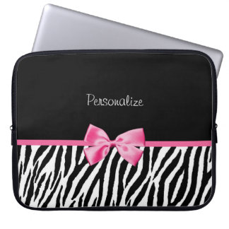 Modisches Schwarzweiss-Zebra-Druck-Rosa-Band Laptop Computer Schutzhüllen