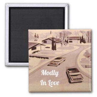 Modly in der Liebe-Mitte- des Jahrhundertsmodernen Quadratischer Magnet