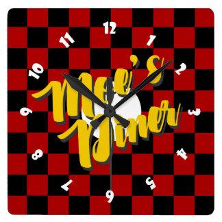 Moes Restaurant-Quadrat-Uhr Quadratische Wanduhr
