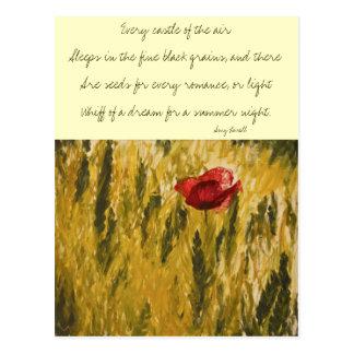 Mohnblume auf dem Weizen-Gebiet Postkarte