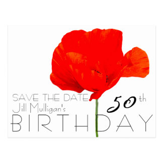 MOHNBLUME Sammlungs-50. Geburtstag Save the Date Postkarte