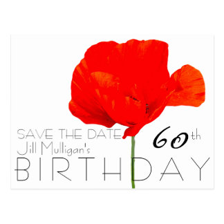 MOHNBLUME Sammlungs-60. Geburtstag Save the Date Postkarte