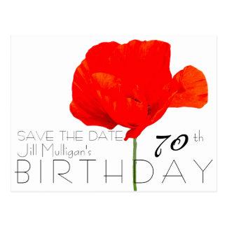 MOHNBLUME Sammlungs-70. Geburtstag Save the Date Postkarten