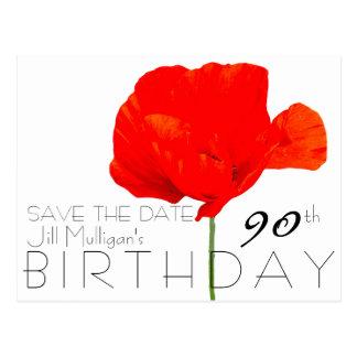 MOHNBLUME Sammlungs-90. Geburtstag Save the Date Postkarte