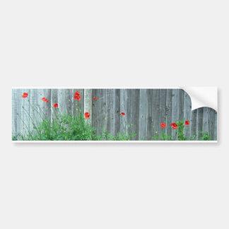 Mohnblumen auf einer Wand Autoaufkleber