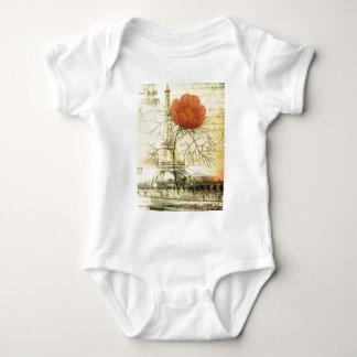 Mohnblumen-Blume Turms Paris Eiffel botanische Baby Strampler