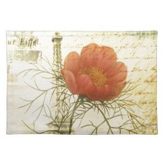 Mohnblumen-Blume Turms Paris Eiffel botanische Tischset