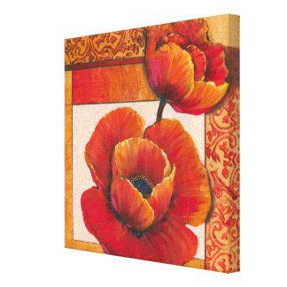 Mohnblumen-Blumen auf TAN und orange Hintergrund Leinwanddruck