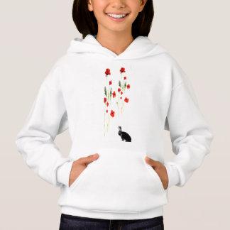 Mohnblumen-Blumen-Häschen-Kaninchen-Kunst Hoodie