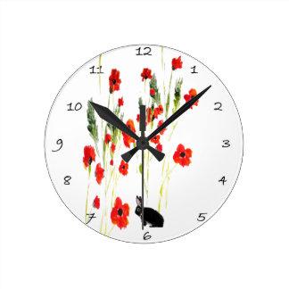 Mohnblumen-Blumen-Häschen-Kaninchen Runde Wanduhr
