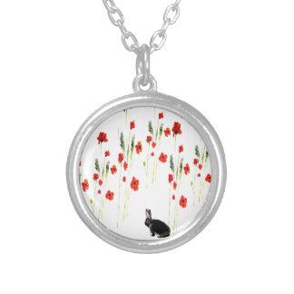 Mohnblumen-Blumen-Häschen-Kaninchen Versilberte Kette