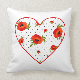 Mohnblumen-Blumen mit Polka-Punkt-Hintergrund Kissen