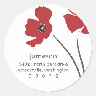 Mohnblumen-Blüten-rundes Adressen-Etikett Runder Aufkleber