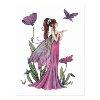 Mohnblumen der Amethyst Fee-und Schmetterlings-Pos Postkarten