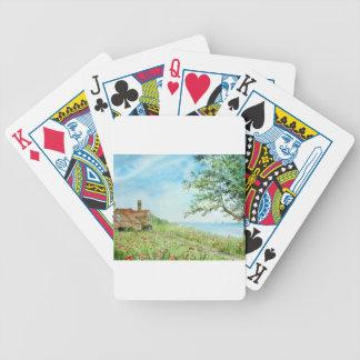 Mohnblumen-Feld-LandschaftsAquarell-Malerei Bicycle Spielkarten
