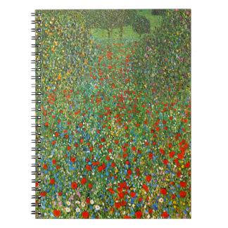 Mohnblumen-Feld-Notizbuch Gustav Klimt Spiral Notizbuch