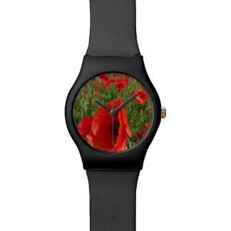 Mohnblumen-Feld-Uhr Armbanduhr