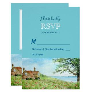 Mohnblumen-Feldwatercolor-Hochzeits-Warte-UAWG Karte