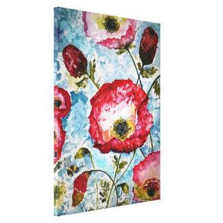 Mohnblumen-Hummelwatercolor-Leinwand-Druck 18x24 Leinwanddruck