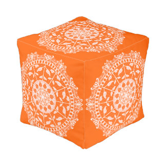 Mohnblumen-Mandala Kubus Sitzpuff