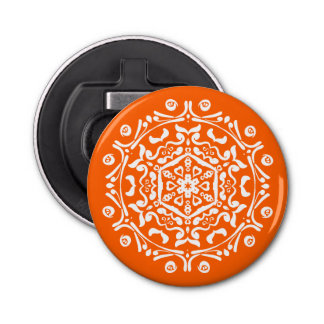 Mohnblumen-Mandala Runder Flaschenöffner