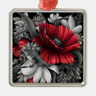 Mohnblumen-Pop heraus Quadratisches Silberfarbenes Ornament