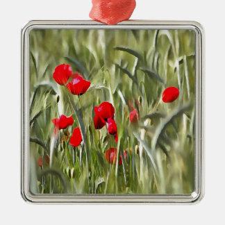 Mohnblumen Quadratisches Silberfarbenes Ornament