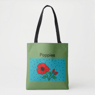 Mohnblumen-Taschen-Taschengrün Tasche