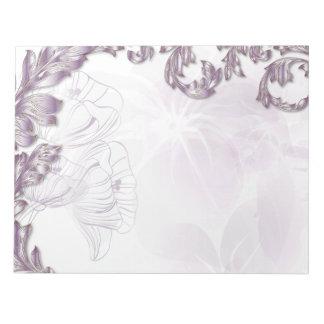 Mohnblumen u. Blätter - Flieder u. Silber Notizblock