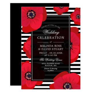Mohnblumen u. Streifen - schwarz u. rote Hochzeit Karte