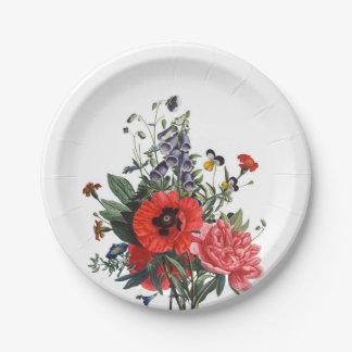 Mohnblumen-und Fingerhut-Blumenstrauß Pappteller