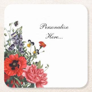 Mohnblumen-und Fingerhut-Blumenstrauß Rechteckiger Pappuntersetzer