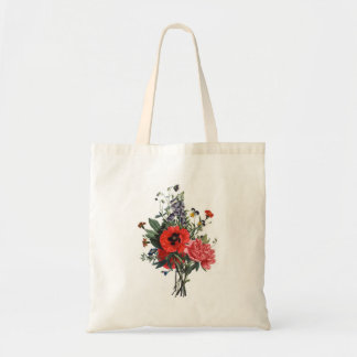 Mohnblumen-und Fingerhut-Blumenstrauß Tragetasche