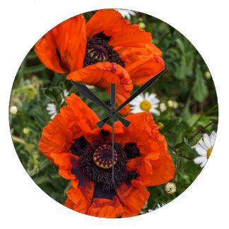 Mohnblumen und Gänseblümchen-Wanduhr Große Wanduhr